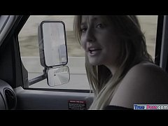blondie teen britney light and her partner are riding the truck when boredom strikes