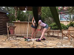 Teen Katja and Kelly toy twats outdoors