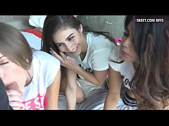Three hot ass teens shared a hard cock