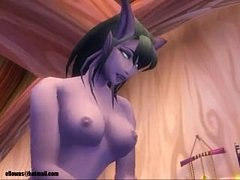 World of Warcraft draenei and nightelf porn (ellowas)