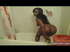 ebony girl showers her big ass and masturbating