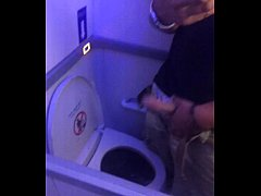 Jacking off in plane bathroom on landing