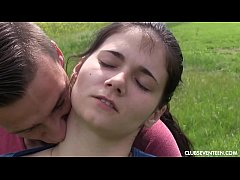 Pigtailed brunette teen gets fucked outdoors
