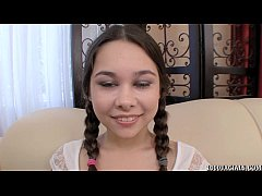 Pigtailed teen Kira Sinn eagerly taking cum facial