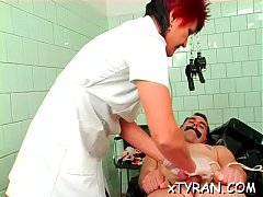 Dude gets a-hole fucked with strap on during hot fedom action