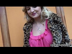 Blond Eurobabe flashes big tits and screwed for some money