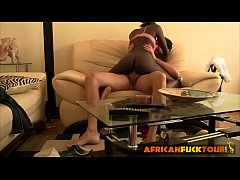 African babe's wet twat is smashed hard by a horny stud