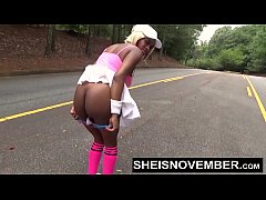 Msnovember Mooning Her Hot Ebony Ass Showing Her Butt Cheeks Outside Walking With Man After Getting Face Fucked BJ On Her Knees With Huge Natural Boobs Out Of Shirt HD Sheisnovember