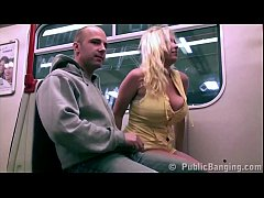 public subway train sex threesome orgy with a blondr girl with big tits