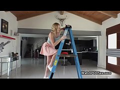Fingering girlfriends ass while on ladder