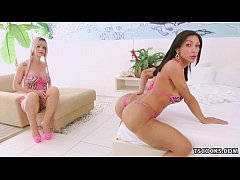 Jhenifer Dalbosco and Sabrina Suzuki share a cock