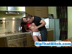 Perky tits girlfriend rough kitchen sex with thick cock muscle boyfriend