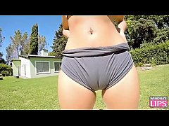 Most Perfect Body TEEN Cameltoe and Big Ass Outdoor Blowjob