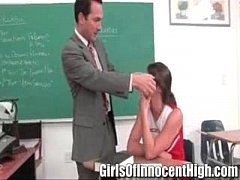 brunette cheerleader gets a special lesson from her professor - Teen 01 01
