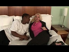 Busty business woman fucking black cock
