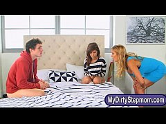 Stepmom catches teen babe and boyfriend fucking on the bed