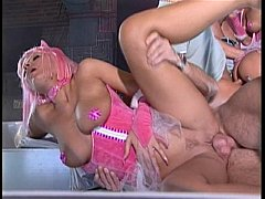 Pink corset costume orgy party ends in cumshots