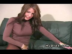 Busty jerk off instructor in brown pantyhose