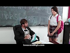 HD InnocentHigh - School Girl Pressured To Strip and Fuck Teacher