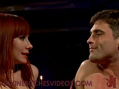 busty redhead submits and fucks tied guy