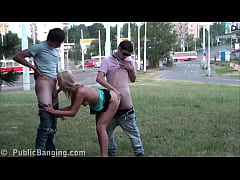 AWESOME public sex teen orgy gangbang on the st...