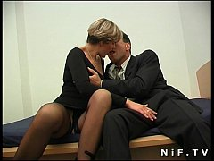 Short haired french milf in stockings gets her ass pounded and facialized