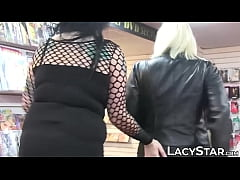 Lesbo grandma sits on BBW face after whipping funtime