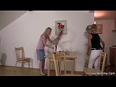 Blonde girl and mature lesbian mom