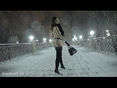HD Jeny Smith naked in snow fall walking through the city