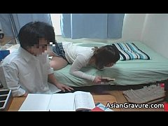 Hot asian home teacher with big juggs