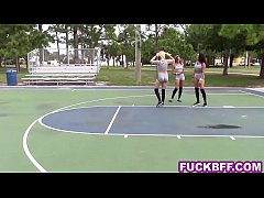 Teen BFFs lick the hot basketball coach after training