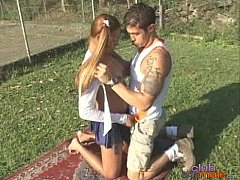 Shemale and boyfriend fucks on the lawn
