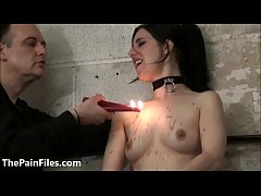 Sexy slave Honesty Cabelleros electro bdsm and hot wax punishment of brunette ma