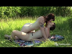 Brunette lesbian cuties from Yanks Turquoise & Artemis masturbating outdoors