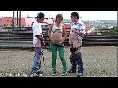 cum on teen girl alexis crystal face in public sex threesome at a train station
