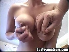 Busty blonde toying and gives awesome blowjob