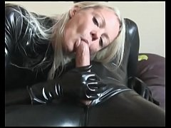 Cumshot for this lady in latex