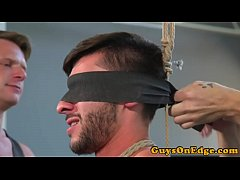 Suspended bdsm sub jerked and spanked fourway