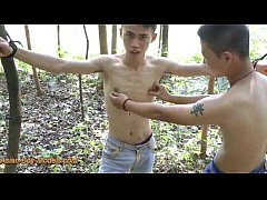 Cute Asian Boy Bound In The Wood