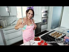 Pounding cute gf in kitchen pov style