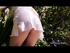 HD Exhibitionist Blonde Sunbathes Topless By Her Bush - Trailer for 4K Video