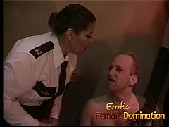 Policewoman and a dominatrix team up to interrogate a criminal-6