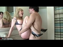 Really horny blonde mother seduces sons friend ...