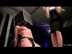 Babe in device bondage and head in box