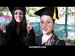 Cute Young BFF Lesbians Share Orgasms After Graduation