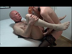 Old man pegged by skinny blonde