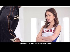 teensloveblackcocks - cute cheerleader gets tight pussy stretched by bbc