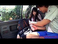 Tiny Japanese schoolgirl mouth fucked in car - xHamster.com