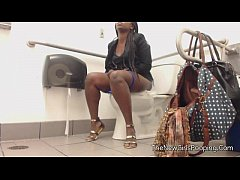 Ebony farting in public bathroom