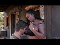 Chubby ebony Layton Benton fucks outdoor